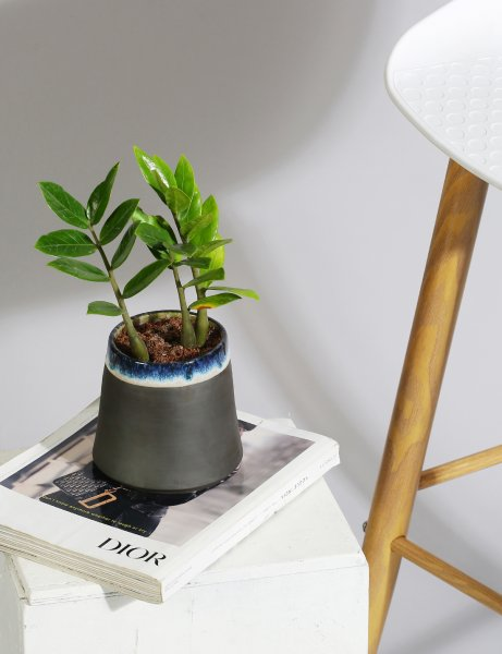 Charcoal slip handmade ceramic planter